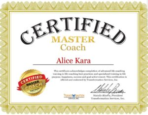 Diplôme de certification de master coach d'Alice Kara