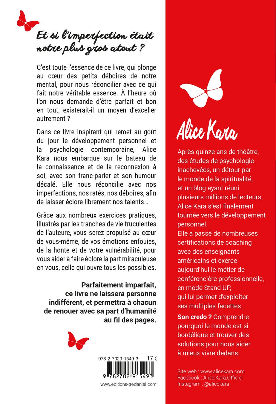 Quatrième de couverture du livre MENFOUMENTAPE l'éloge de l'imparfaititude par Alice Kara book cover dos du bouquin imperfection